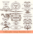 collection of calligraphic flourishes in vintage vector image vector image