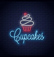 cupcake neon logo on wall background vector image