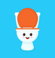 cute funny smiling happy toilet bowl vector image vector image