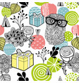 cute owl and gifts background vector image vector image