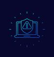 cyber attack alert icon linear design vector image vector image