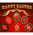 Easter card with the eggs with gold ornament vector image vector image