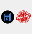 euro price pages icon and scratched huge vector image vector image
