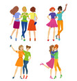female friendship beautiful girl friends hugging vector image vector image