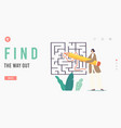 find way out landing page template vector image