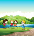 Four kids playing with a rope near the river vector image vector image