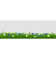grass and blue flowers transparent background vector image vector image