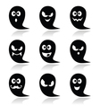 Halloween ghost icons set - scary friendly vector image vector image