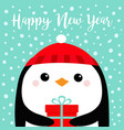 happy new year penguin bird head face holding vector image vector image