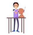 happy potter working with male bust sculpture vector image vector image