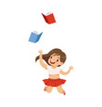 happy smiling little girl having fun with books vector image vector image
