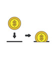 icon concept dollar coin inside moneybox hole vector image vector image
