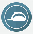 icon helmet on white circle with a long shadow vector image