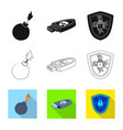 isolated object virus and secure icon set of vector image