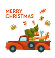 merry christmas postcard car with gifts and xmas vector image