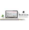 modern bedroom interior design background vector image vector image