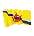political waving flag of brunei vector image vector image