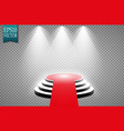 red carpet and round podium with lights effect vector image