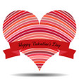 red heart with ribbon and shadow vector image vector image