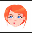 redhead woman skeptic face flat icon vector image