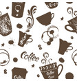 seamless background coffee hand drawn vector image vector image