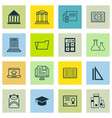 set of 16 education icons includes distance vector image vector image