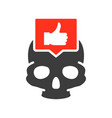 skull with thumb up in speech bubble colored icon vector image