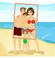 Smiling family looking through an empty frame vector image vector image