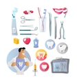 Tools and Items on Theme of Stomatology vector image