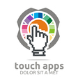 touch screen app hand circle symbol vector image