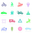Traffic application icons in color vector image vector image