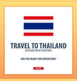 travel to thailand discover and explore new vector image