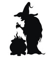 witch preparing a magic potion black silhouette vector image vector image
