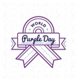 World Purple day greeting emblem vector image vector image