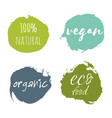 set of vegan eco food bio raw organic green vector image