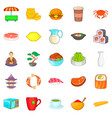tea ceremony icons set cartoon style vector image