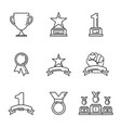 award icon golden cups for winners sport trophy vector image
