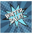 bright blue comic bubble with winter sale text vector image vector image