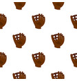 brown leather baseball glove pattern seamless vector image vector image