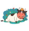 cartoon bull resting lying on grass graphics vector image