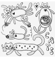 cats doodles set vector image vector image