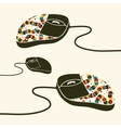 Computer mouse decorated with design print vector image vector image