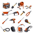construction tools set vector image vector image