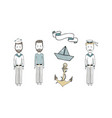 cute old-fashioned sailing ship and modern cruise vector image vector image