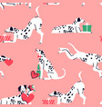 cute valentines dalmatian dog seamless pattern vector image vector image