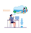 dreaming woman office girl dreams about beach vector image vector image