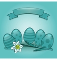 Easter eggs with daffodil and banner vector image vector image
