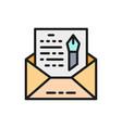 envelope novel freehand letter flat color icon vector image