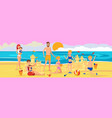 family on beach playing with sand rest on sea vector image vector image