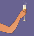 female hand holding a glass champagne or vector image